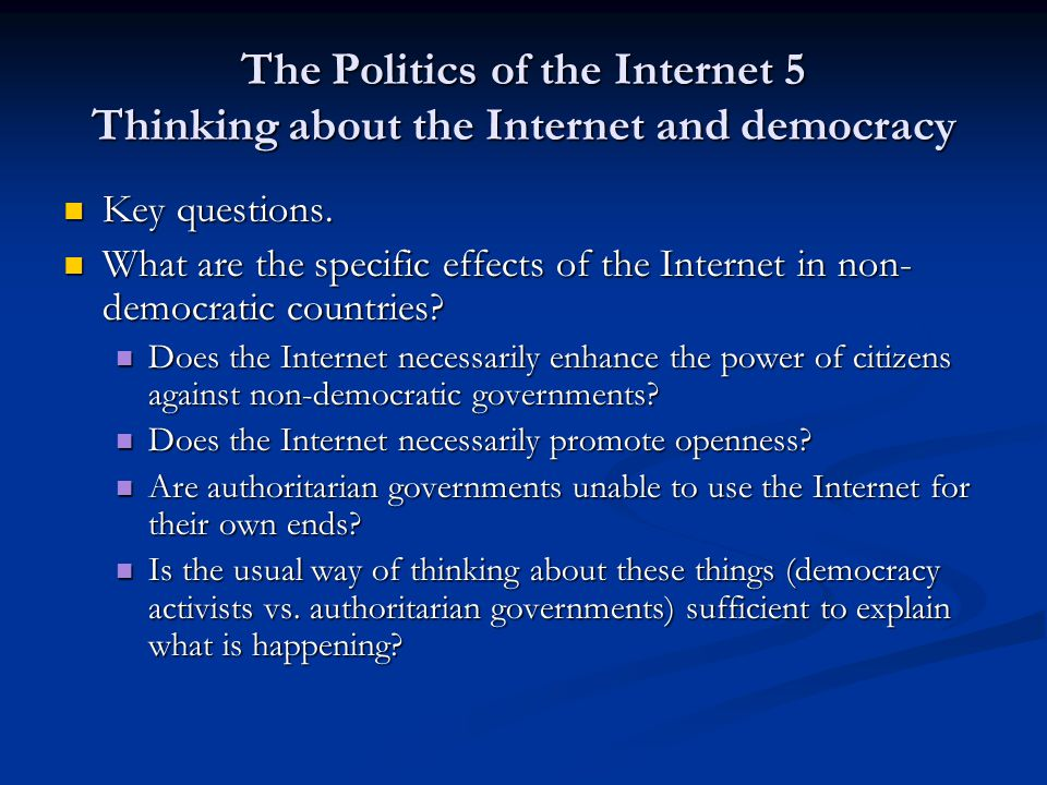 The Politics of the Internet 5 Indirect State control Not censorship as in China Not censorship as in China Govt owns the largest ISP, and plays a dominant role in the market.