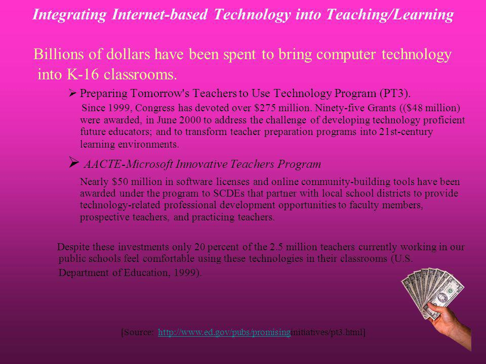 Billions of dollars have been spent to bring computer technology into K-16 classrooms. Preparing Tomorrow's Teachers to Use Technology Program (PT3).