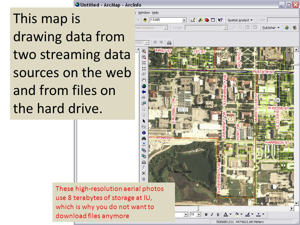 This map is drawing data from two streaming data sources on the web and from files on the hard drive. These high-resolution aerial photos use 8 teraby