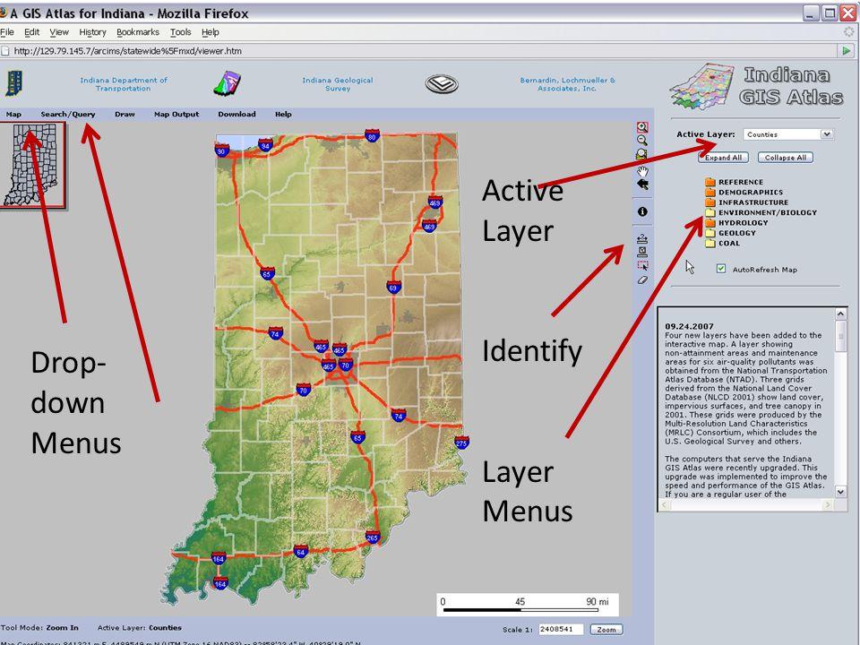 Drop- down Menus Active Layer Identify Layer Menus