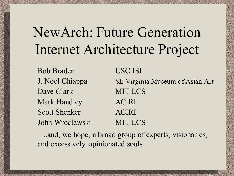 NewArch: Future Generation Internet Architecture Project Bob BradenUSC ISI J. Noel Chiappa SE Virginia Museum of Asian Art Dave ClarkMIT LCS Mark Hand