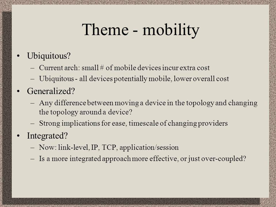 Theme - mobility Ubiquitous? –Current arch: small # of mobile devices incur extra cost –Ubiquitous - all devices potentially mobile, lower overall cos