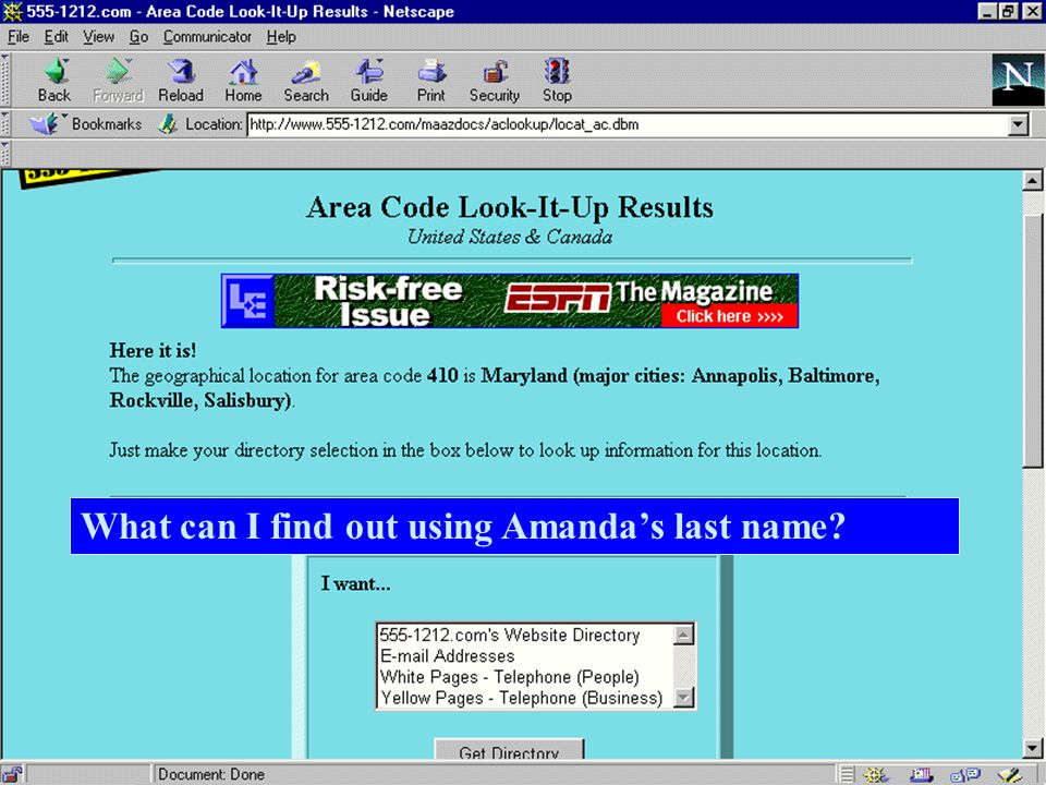 What can I find out using Amandas last name