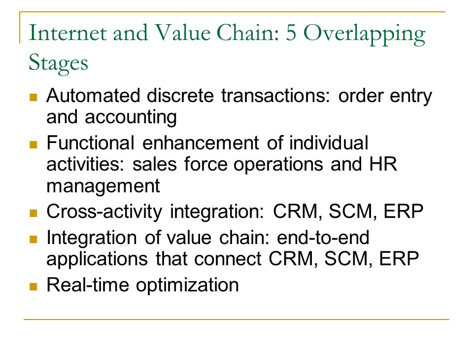 Internet and Value Chain: 5 Overlapping Stages Automated discrete transactions: order entry and accounting Functional enhancement of individual activi