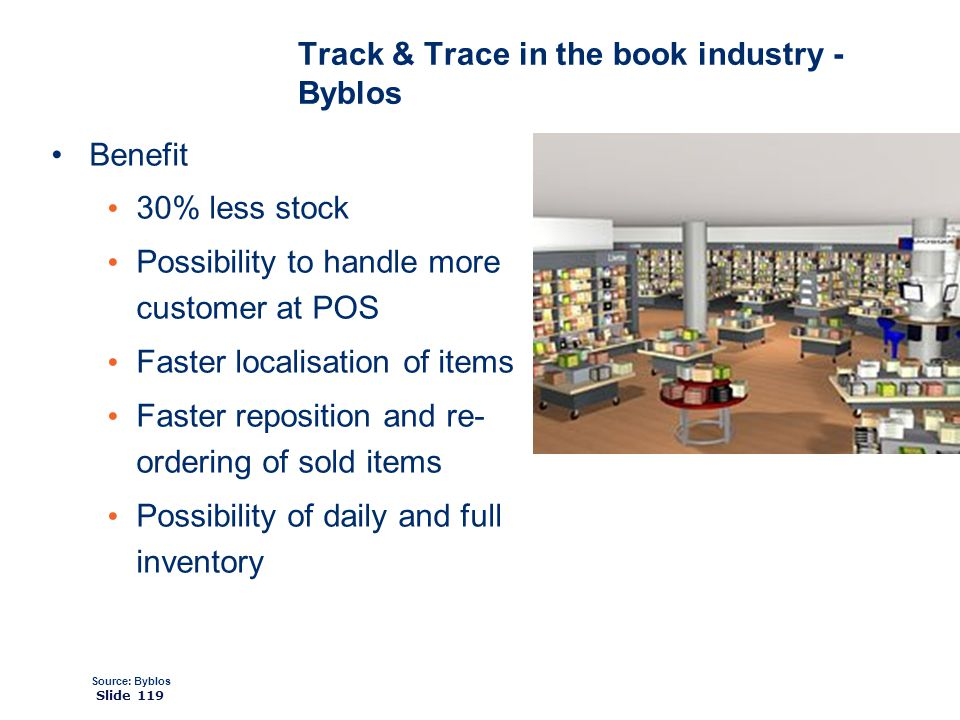 ©2008 GS1 Slide 119 Benefit 30% less stock Possibility to handle more customer at POS Faster localisation of items Faster reposition and re- ordering of sold items Possibility of daily and full inventory Source: Byblos Track & Trace in the book industry - Byblos