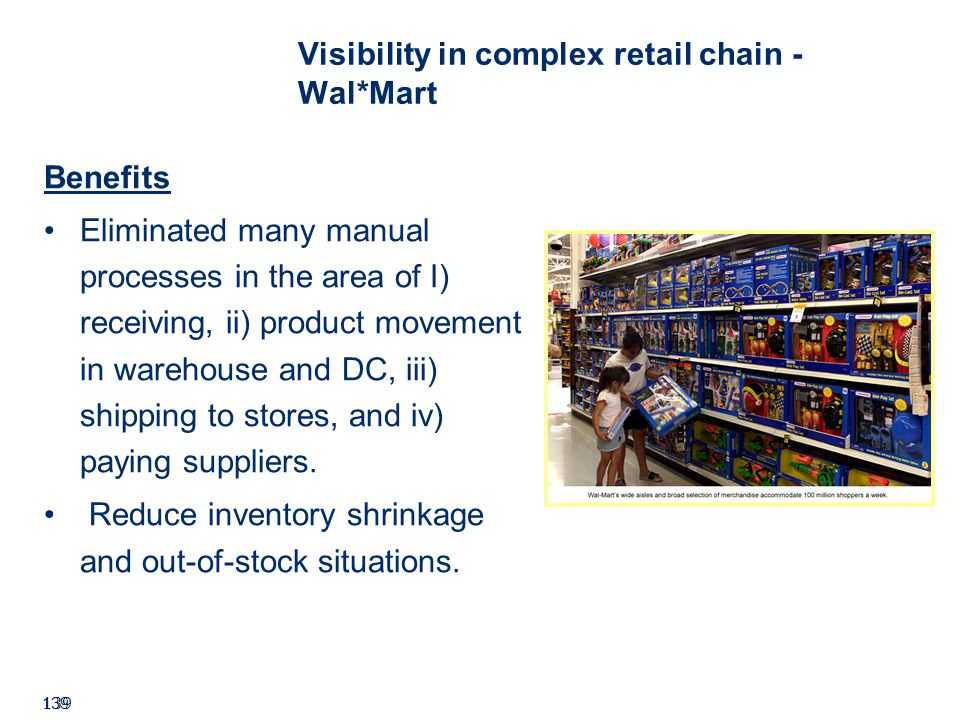 ©2008 GS1 139 Visibility in complex retail chain - Wal*Mart Benefits Eliminated many manual processes in the area of I) receiving, ii) product movement in warehouse and DC, iii) shipping to stores, and iv) paying suppliers.