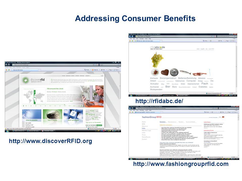 Addressing Consumer Benefits http://www.discoverRFID.org http://rfidabc.de/ http://www.fashiongrouprfid.com
