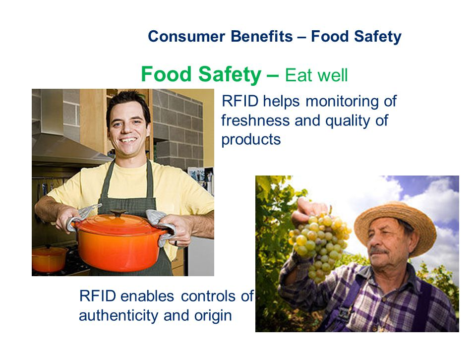 Consumer Benefits – Food Safety Food Safety – Eat well RFID helps monitoring of freshness and quality of products RFID enables controls of authenticity and origin