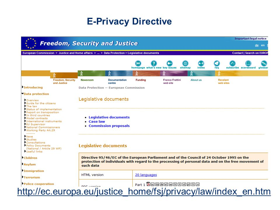 E-Privacy Directive http://ec.europa.eu/justice_home/fsj/privacy/law/index_en.htm