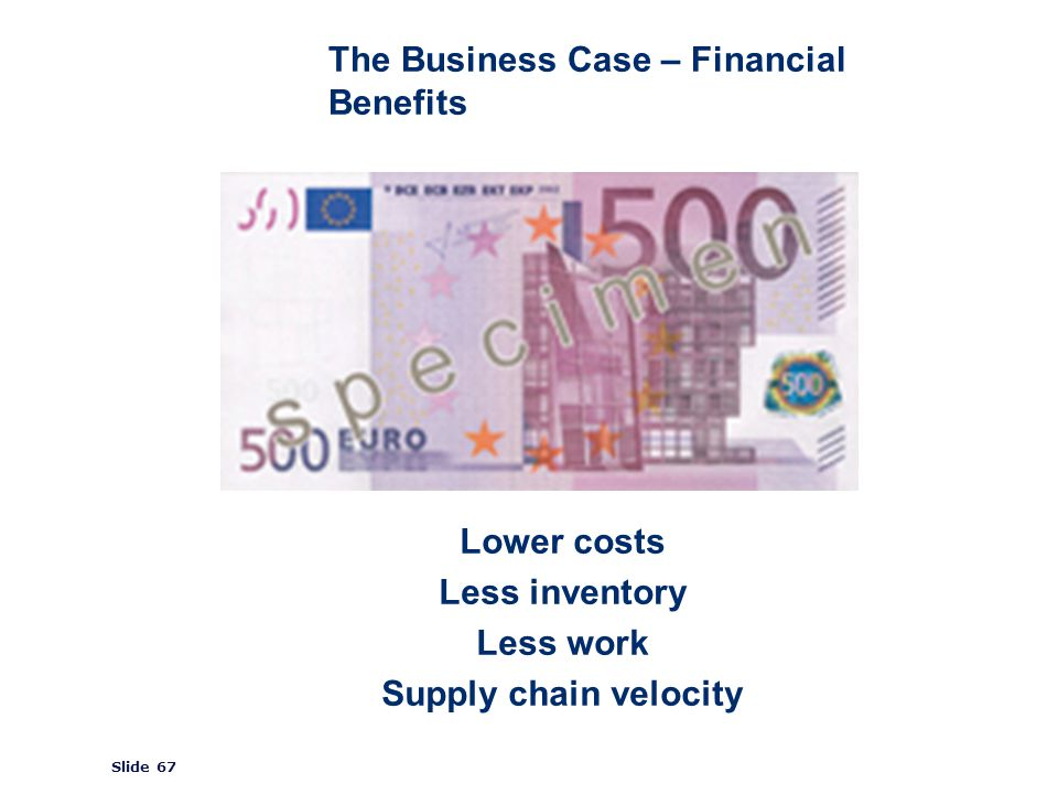 ©2008 GS1 Slide 67 The Business Case – Financial Benefits Lower costs Less inventory Less work Supply chain velocity