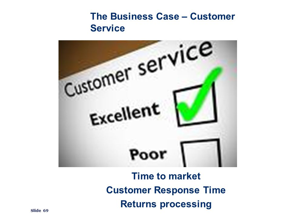 ©2008 GS1 Slide 69 The Business Case – Customer Service Time to market Customer Response Time Returns processing