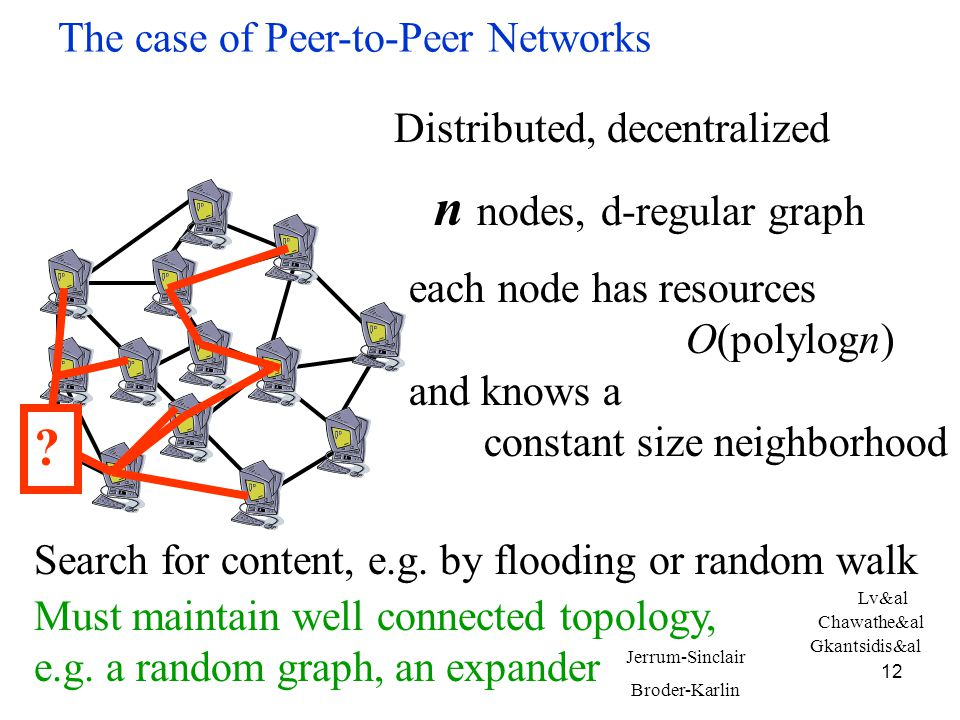 12 The case of Peer-to-Peer Networks n nodes, d-regular graph each node has resources O(polylogn) and knows a constant size neighborhood Distributed, decentralized Search for content, e.g.