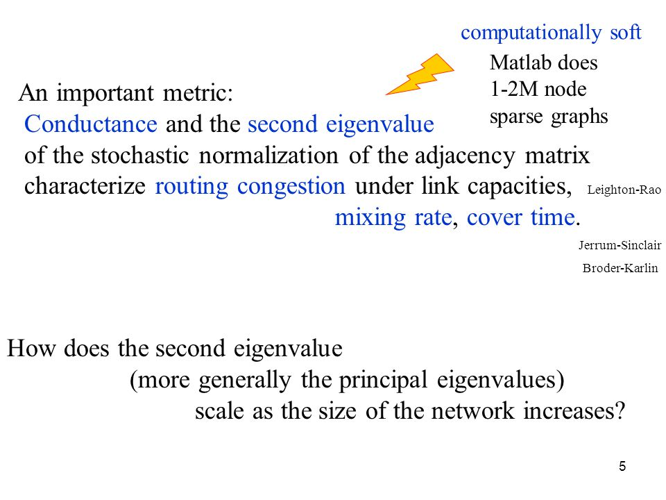 5 An important metric: Conductance and the second eigenvalue of the stochastic normalization of the adjacency matrix characterize routing congestion u