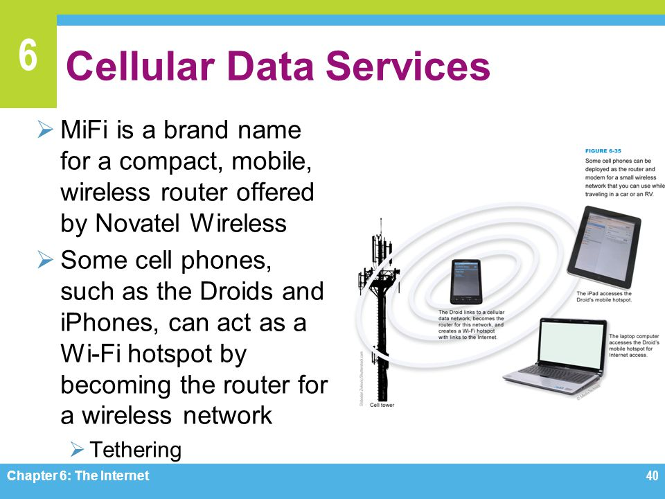 6 Cellular Data Services MiFi is a brand name for a compact, mobile, wireless router offered by Novatel Wireless Some cell phones, such as the Droids and iPhones, can act as a Wi-Fi hotspot by becoming the router for a wireless network Tethering Chapter 6: The Internet 40