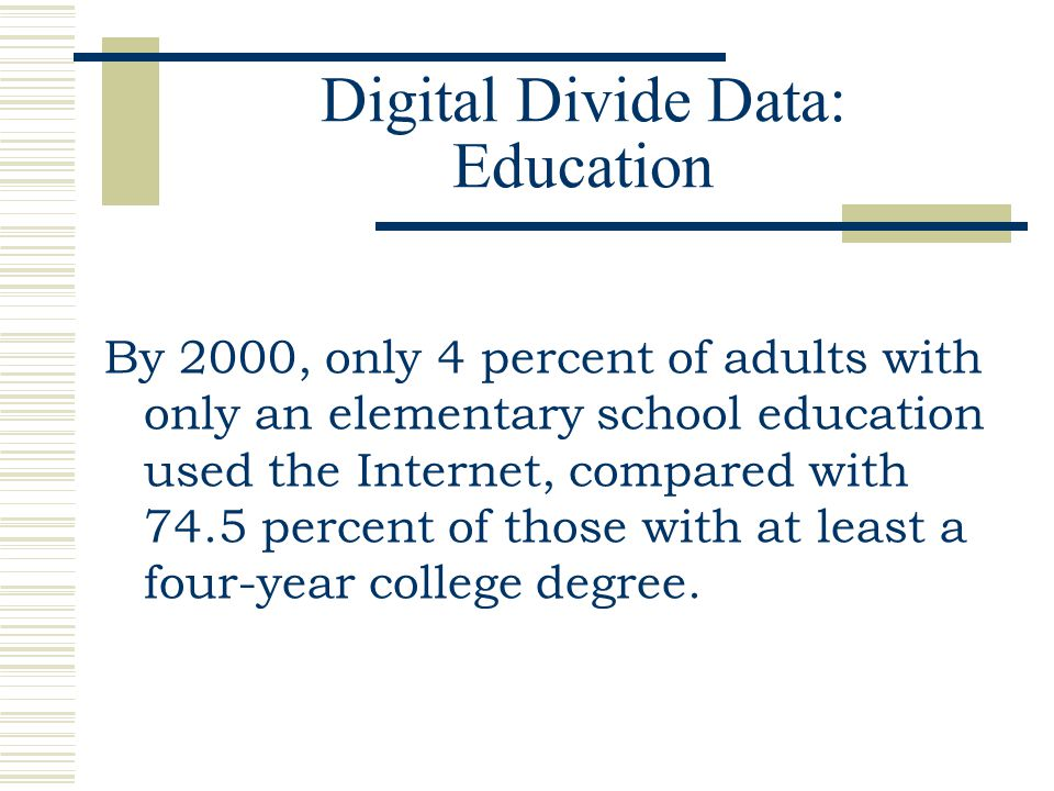 Digital Divide Data: Education By 2000, only 4 percent of adults with only an elementary school education used the Internet, compared with 74.5 percen