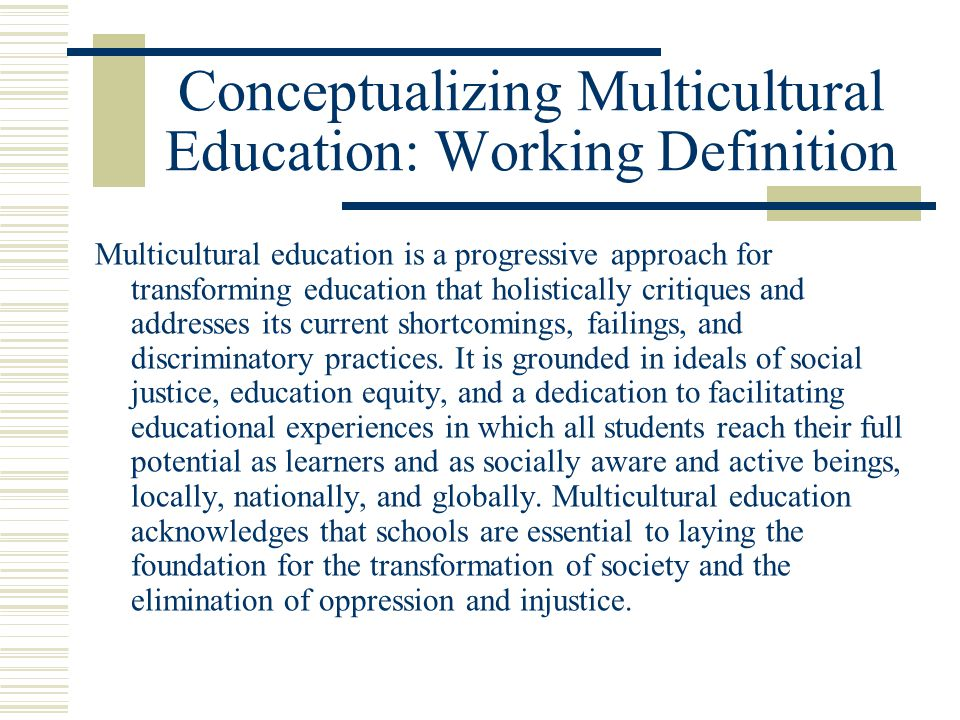 Conceptualizing Multicultural Education: Working Definition Multicultural education is a progressive approach for transforming education that holistic