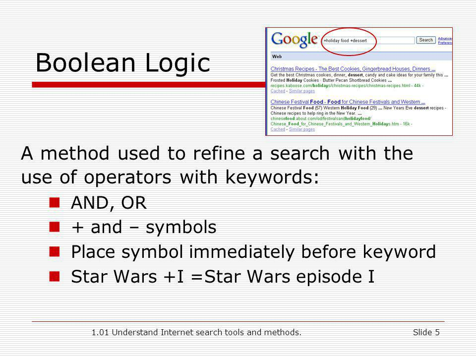 1.01 Understand Internet search tools and methods.