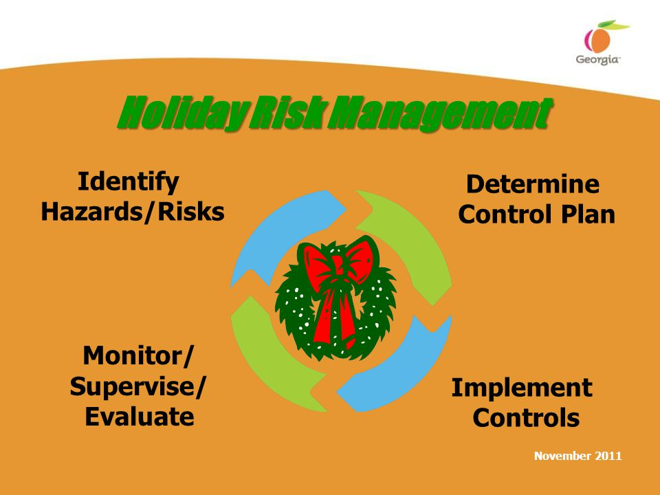 November 2011 Holiday Risk Management Identify Hazards/Risks Determine Control Plan Implement Controls Monitor/ Supervise/ Evaluate