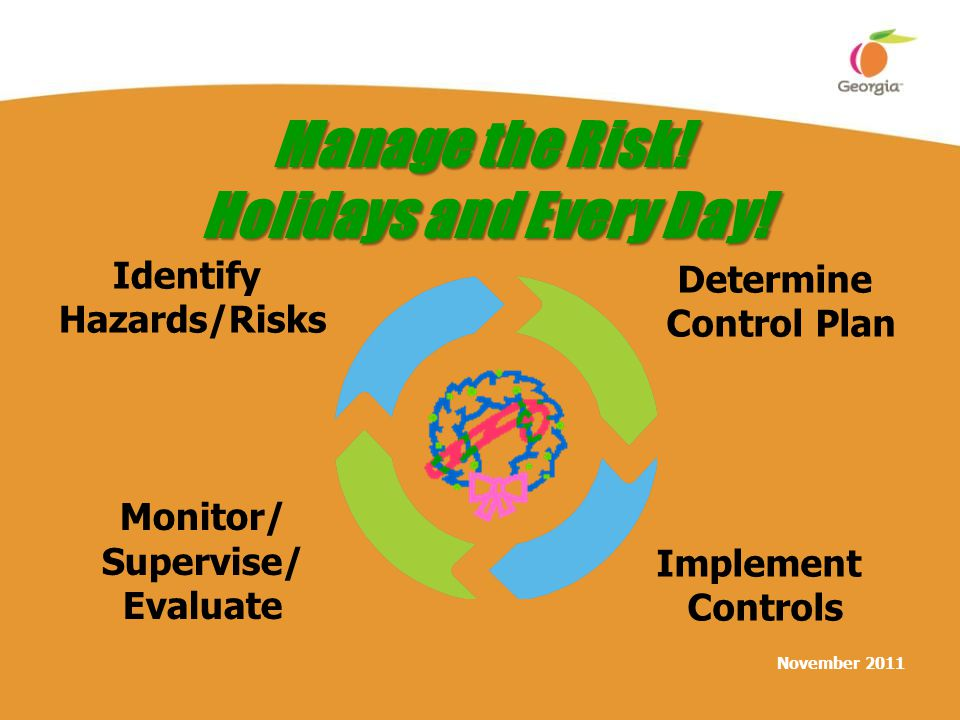 November 2011 Manage the Risk! Holidays and Every Day! Identify Hazards/Risks Determine Control Plan Implement Controls Monitor/ Supervise/ Evaluate