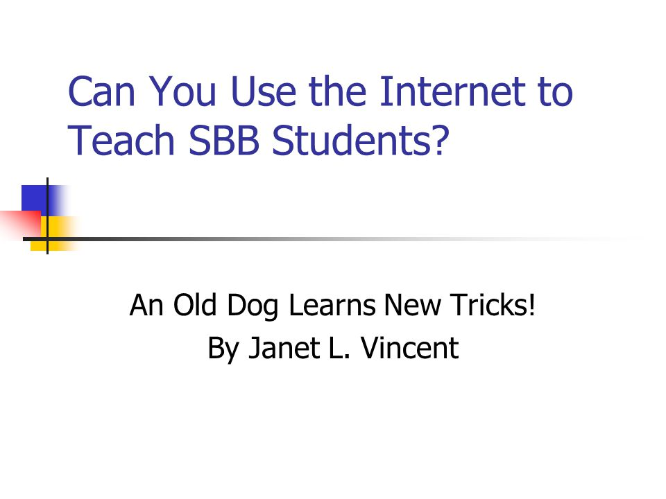 Can You Use the Internet to Teach SBB Students? An Old Dog Learns New Tricks! By Janet L. Vincent