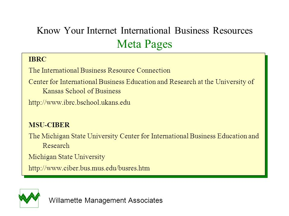 Know Your Internet International Business Resources Meta Pages IBRC The International Business Resource Connection Center for International Business E