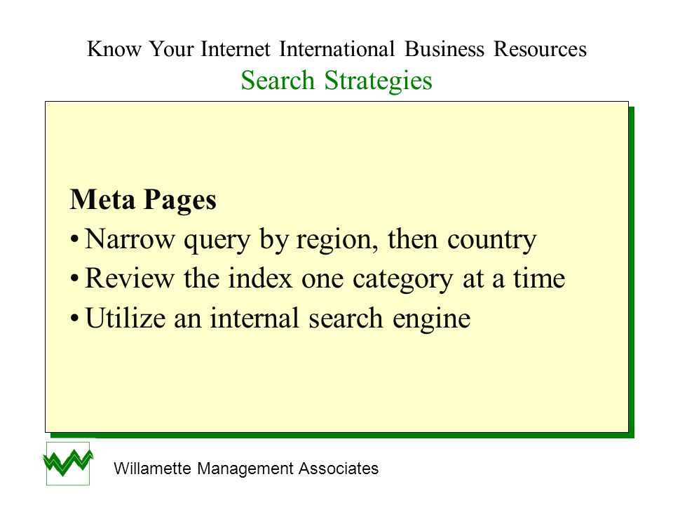Know Your Internet International Business Resources Search Strategies Meta Pages Narrow query by region, then country Review the index one category at