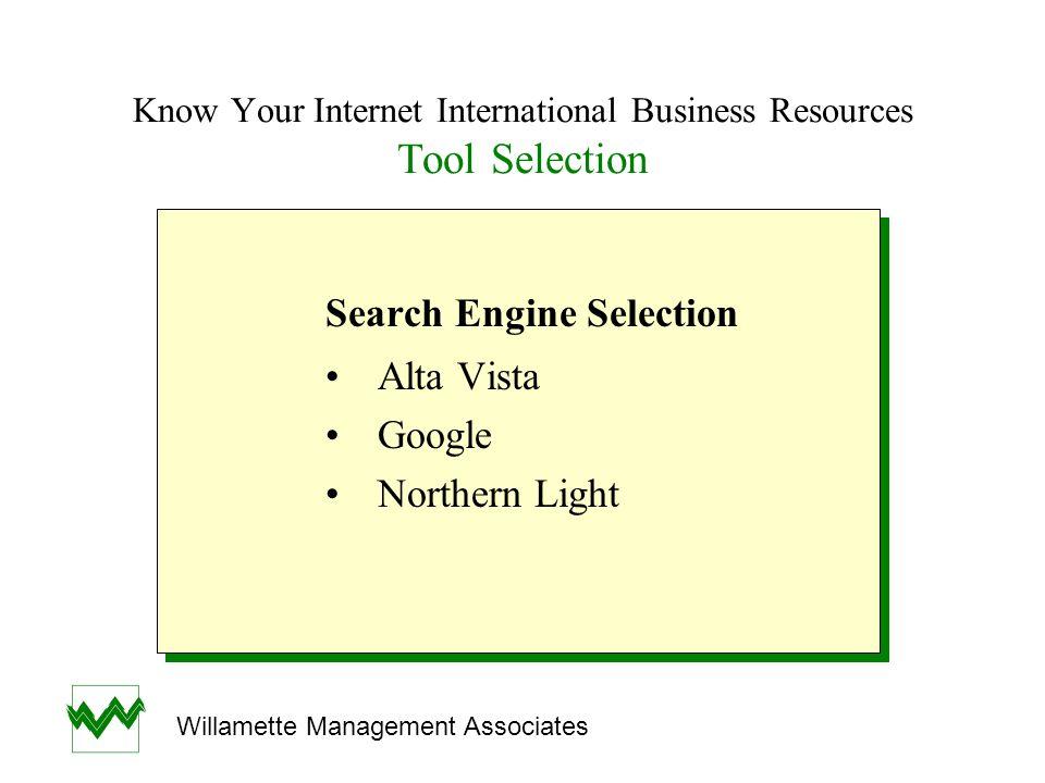 Know Your Internet International Business Resources Search Engines SearchWebSize EngineAddressSearch Method(Millions) Alta Vistawww.altavista.comSearch Utilities340 Googlewww.google.comLink Analysis560 NorthernNatural Language & Lightwww.northernlight.comSearch Utilities319 SearchWebSize EngineAddressSearch Method(Millions) Alta Vistawww.altavista.comSearch Utilities340 Googlewww.google.comLink Analysis560 NorthernNatural Language & Lightwww.northernlight.comSearch Utilities319 Willamette Management Associates