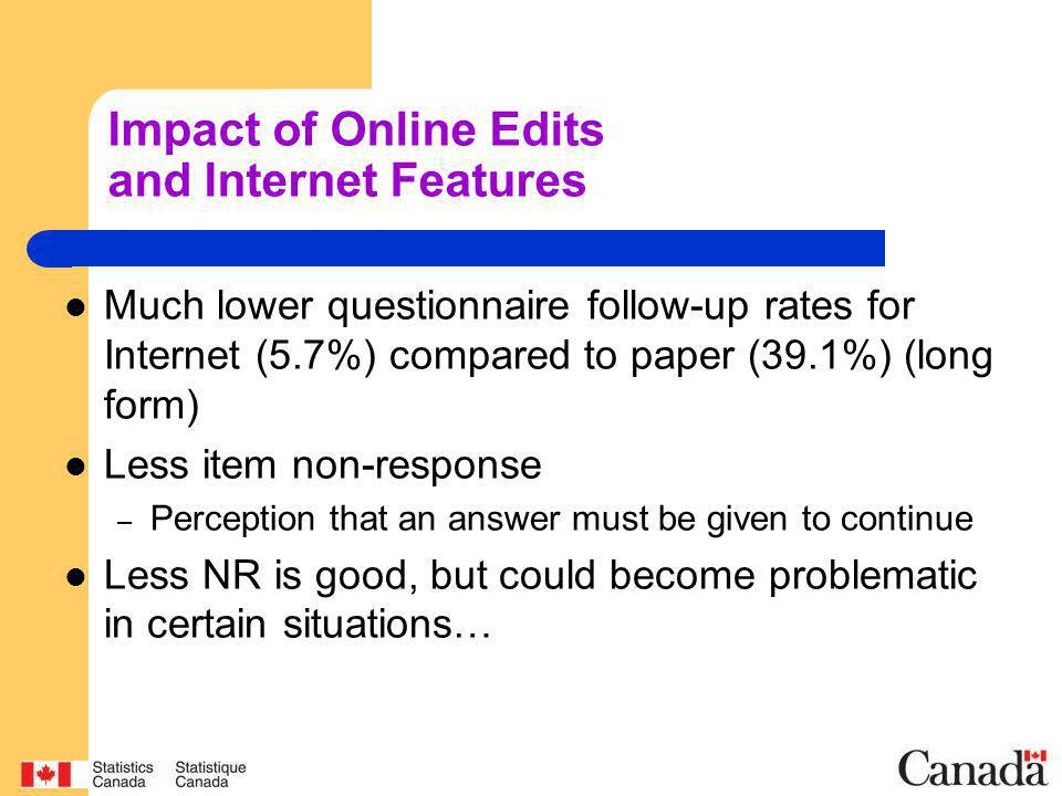 Impact of Online Edits and Internet Features Much lower questionnaire follow-up rates for Internet (5.7%) compared to paper (39.1%) (long form) Less item non-response – Perception that an answer must be given to continue Less NR is good, but could become problematic in certain situations…