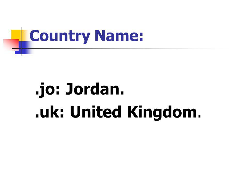 .jo: Jordan..uk: United Kingdom. Country Name: