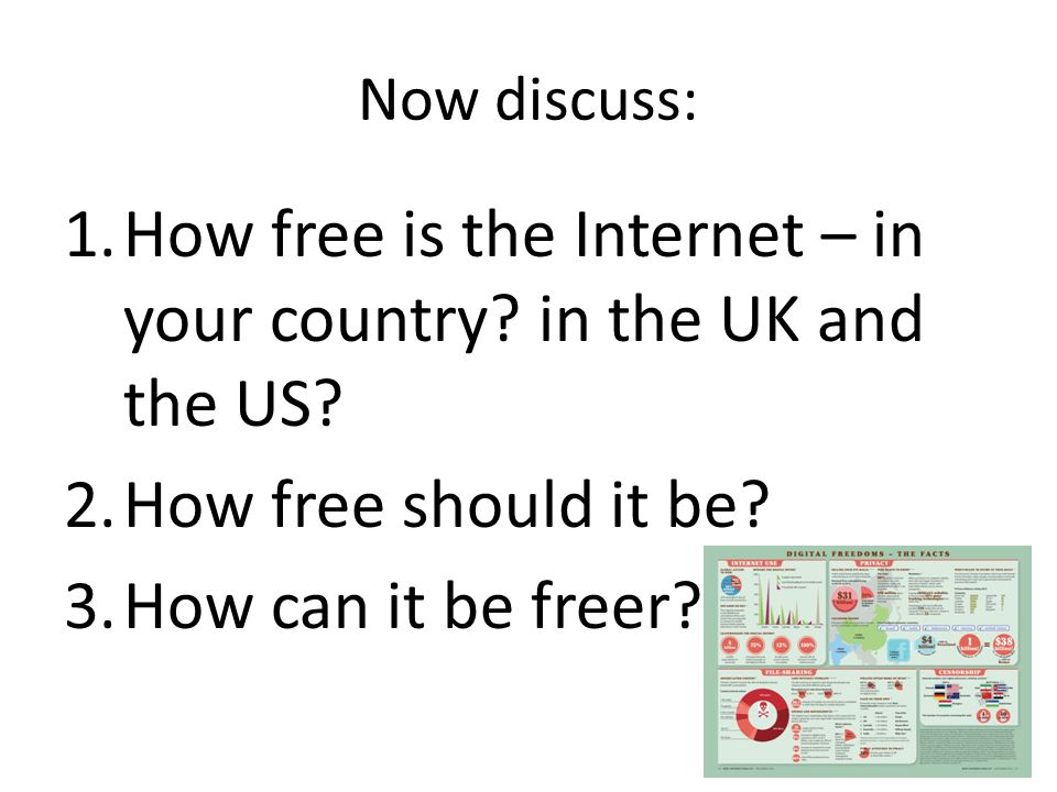Now discuss: 1.How free is the Internet – in your country.