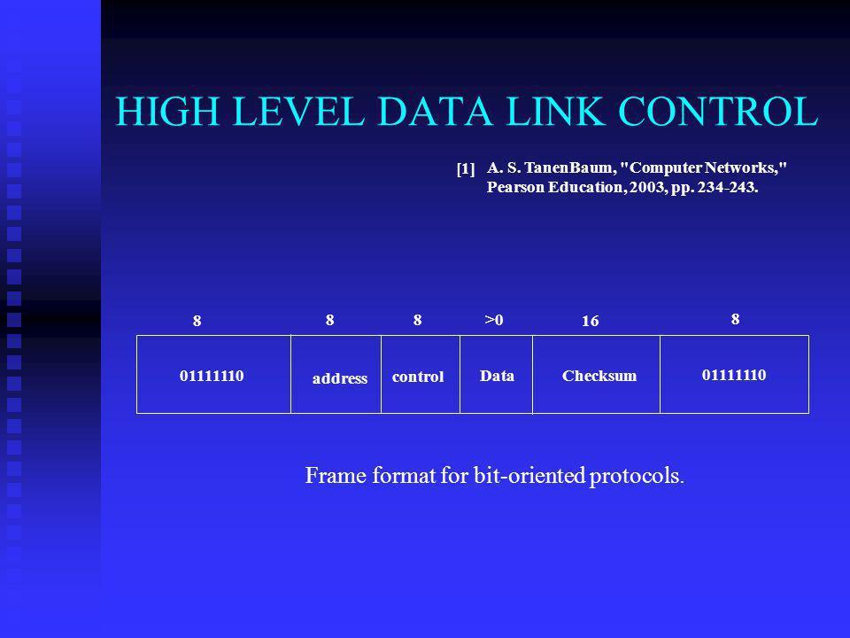 HIGH LEVEL DATA LINK CONTROL A. S. TanenBaum,