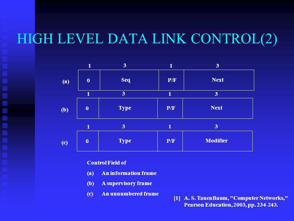 HIGH LEVEL DATA LINK CONTROL(2) A. S. TanenBaum,