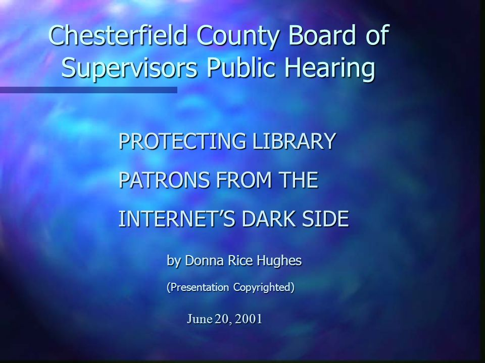 n The EEOC found probable cause in case of 12 Minneapolis public librarians were subjected to a sexually hostile work environment due to Internet porn (bestiality to child rape) exposure in workplace (May 24, 2001) n Violation of Title VII of Civil Rights Act of 1964 n Suggested library payment of $75,000 per librarian ($900,000) Equal Employment Opportunity Commission