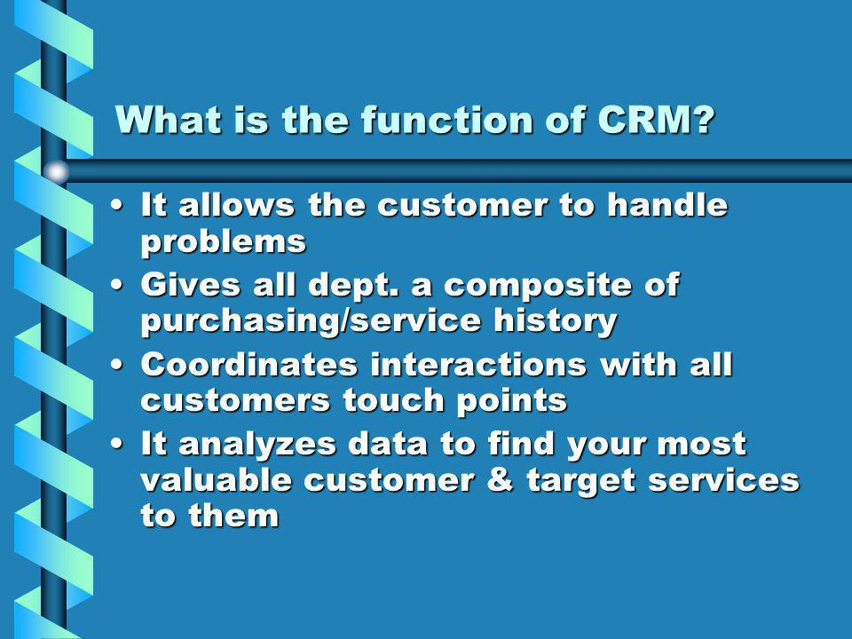 What is the function of CRM.