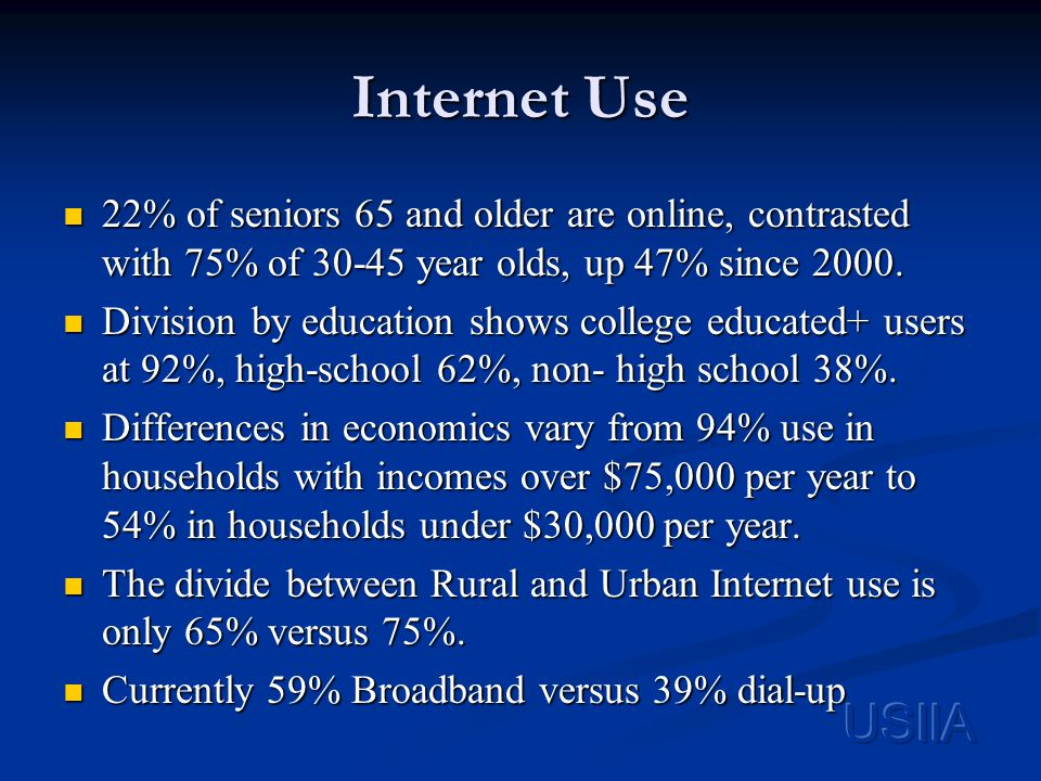 Internet Use 22% of seniors 65 and older are online, contrasted with 75% of 30-45 year olds, up 47% since 2000.