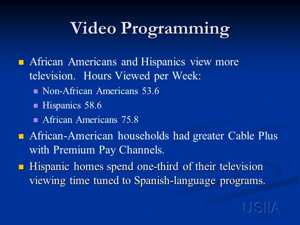 Video Programming African Americans and Hispanics view more television.