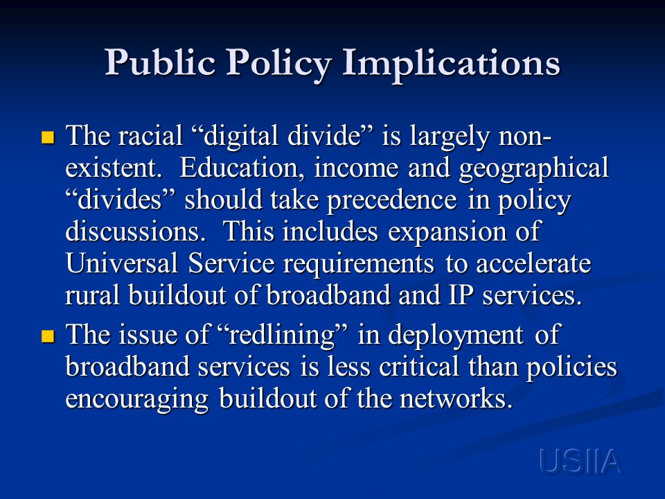 Public Policy Implications The racial digital divide is largely non- existent.