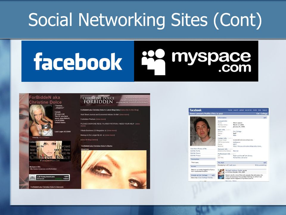 Social Networking Sites (Cont)