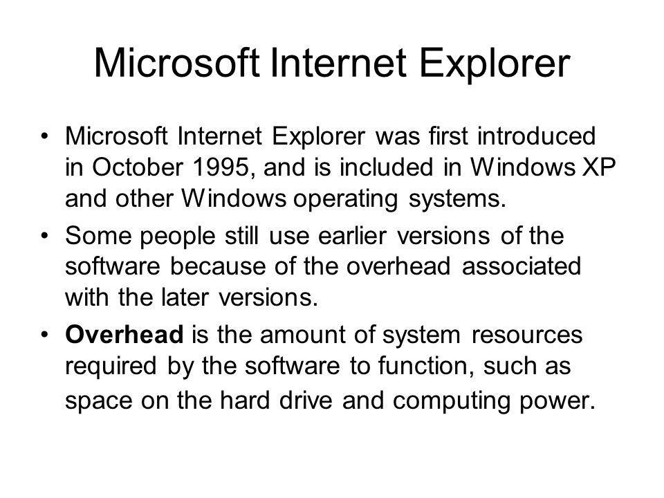 Microsoft Internet Explorer Microsoft Internet Explorer was first introduced in October 1995, and is included in Windows XP and other Windows operatin