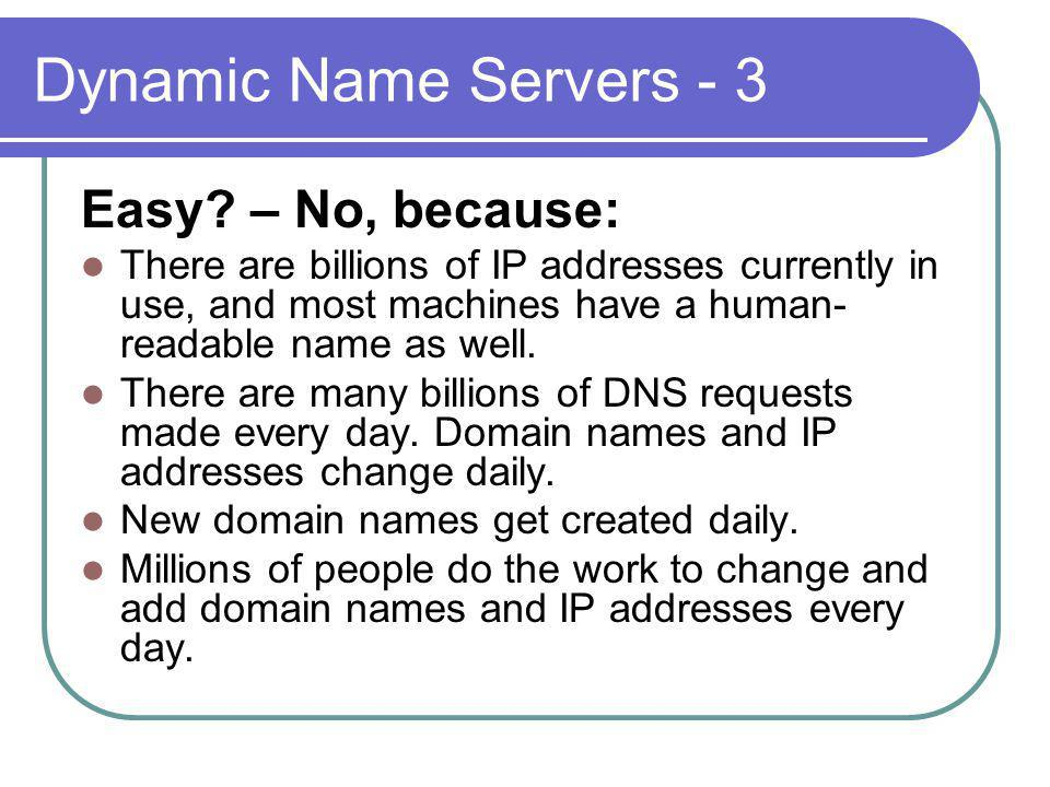 Dynamic Name Servers - 3 Easy.
