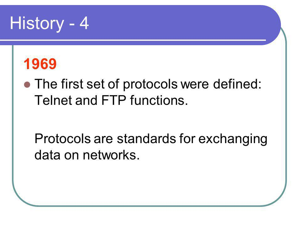 History - 4 1969 The first set of protocols were defined: Telnet and FTP functions.