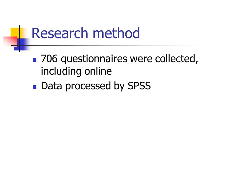 Research method 706 questionnaires were collected, including online Data processed by SPSS
