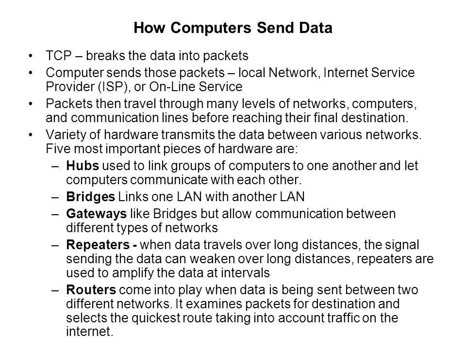 How Computers Send Data TCP – breaks the data into packets Computer sends those packets – local Network, Internet Service Provider (ISP), or On-Line S