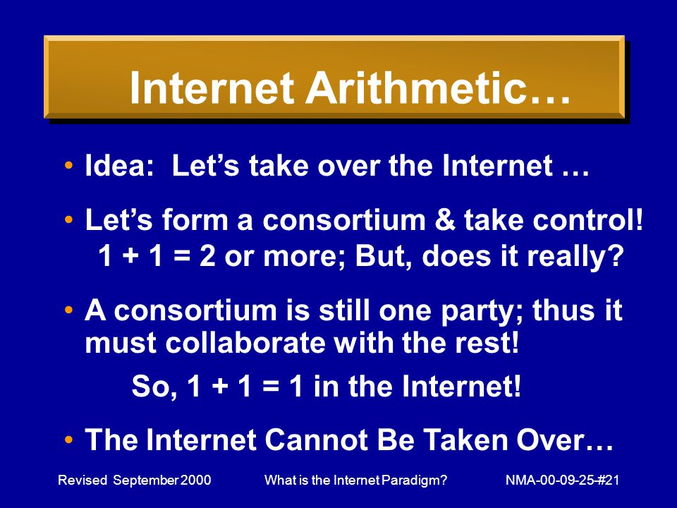 Revised September 2000What is the Internet Paradigm NMA-00-09-25-#21 Internet Arithmetic… Idea: Lets take over the Internet … Lets form a consortium & take control.