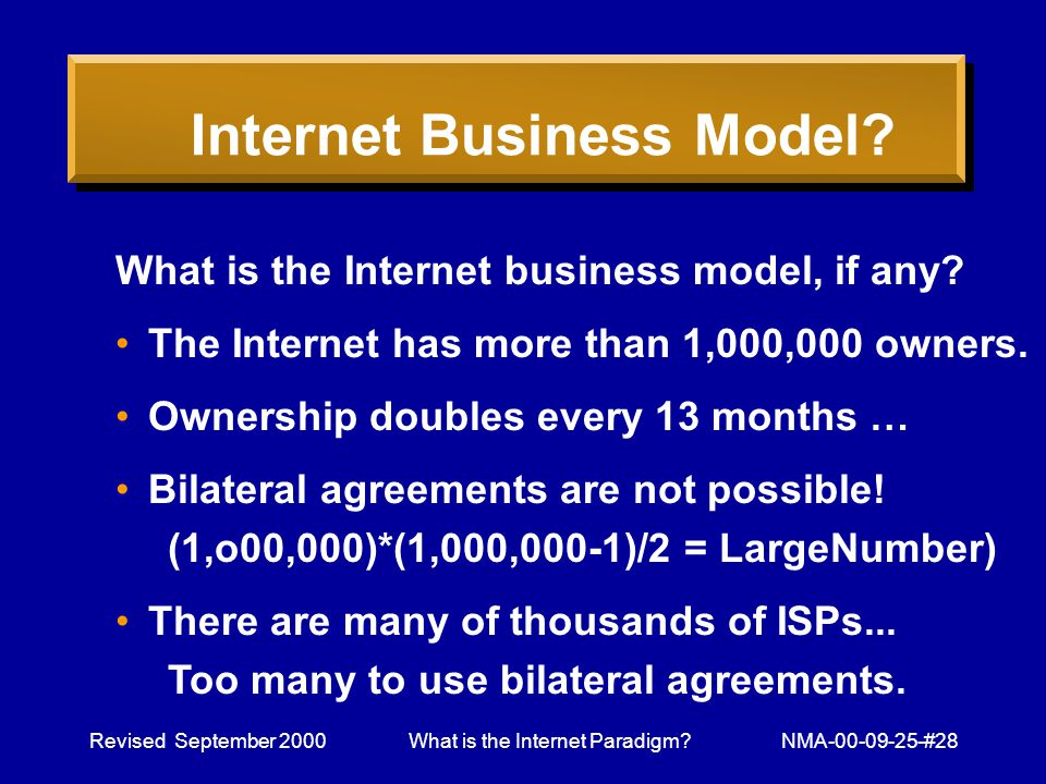 Revised September 2000What is the Internet Paradigm NMA-00-09-25-#28 Internet Business Model.