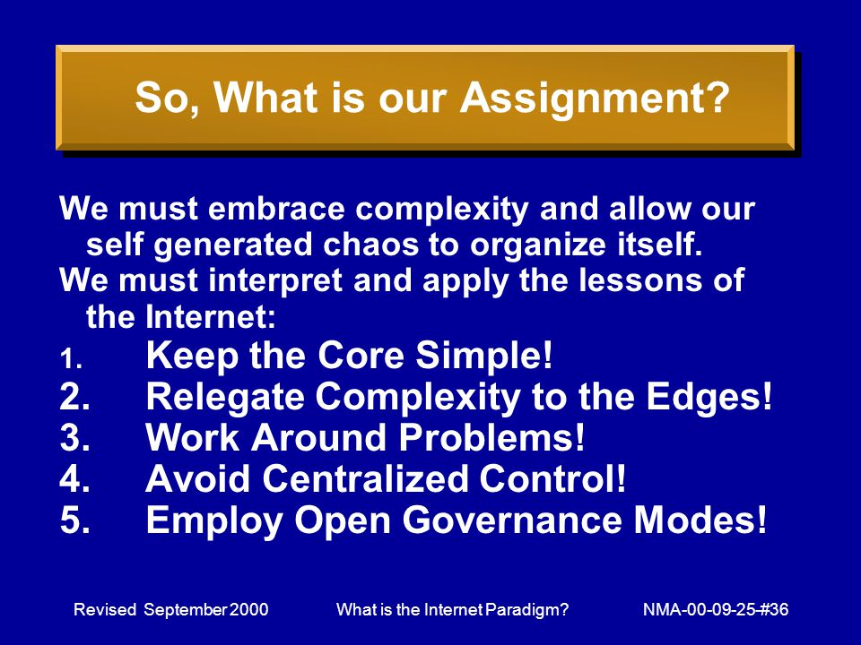 Revised September 2000What is the Internet Paradigm NMA-00-09-25-#36 So, What is our Assignment.