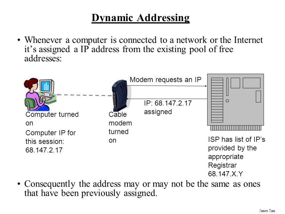 James Tam Dynamic Addressing Whenever a computer is connected to a network or the Internet its assigned a IP address from the existing pool of free ad