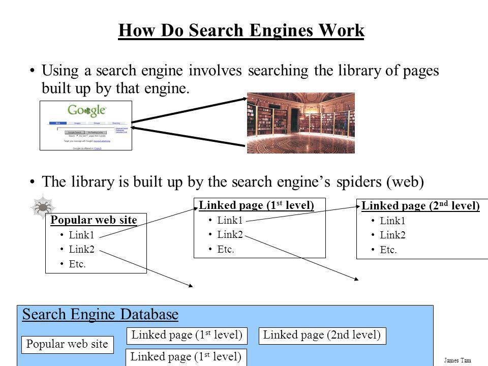 James Tam How Do Search Engines Work Using a search engine involves searching the library of pages built up by that engine. The library is built up by