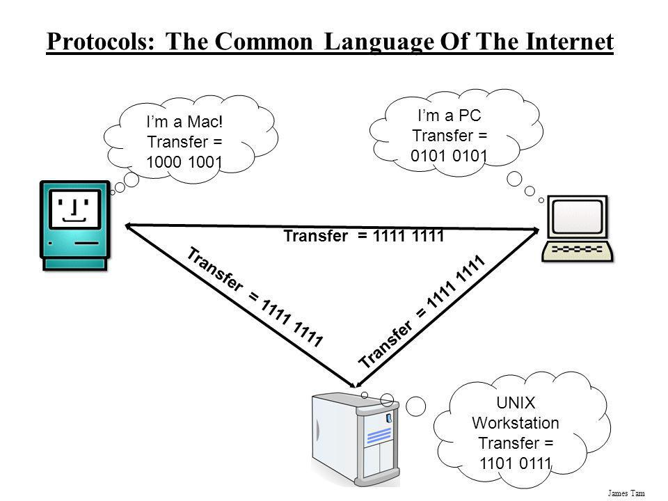James Tam Protocols: The Common Language Of The Internet Im a Mac! Transfer = 1000 1001 Im a PC Transfer = 0101 0101 UNIX Workstation Transfer = 1101