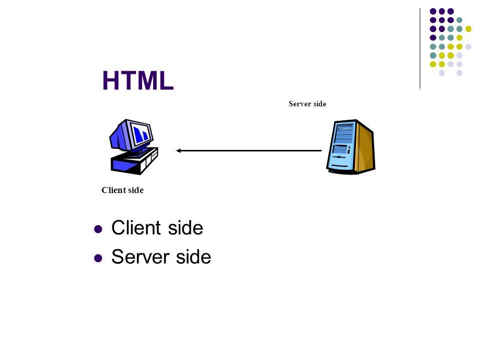 HTML Client side Server side Client side Server side